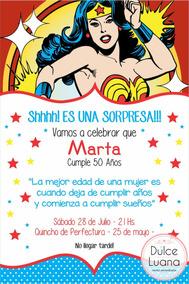 Invitaciones Mujer Maravilla Con Sobre Original 15 Años