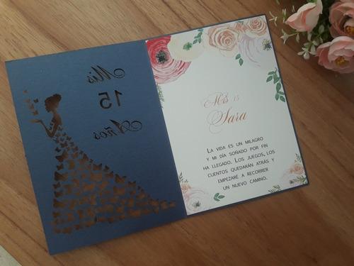 invitaciones muñeca calada color azul mariposas