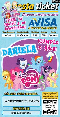 invitaciones my little pony, mi pequeño pony personalizadas