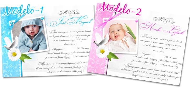 Invitaciones Para Bautizo Con Fotomontaje Super Modernas Bfn