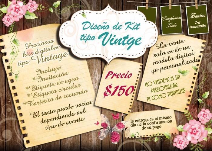 Invitaciones Para Bautizo Y Baby Shower Kit Vintage 150 00 En