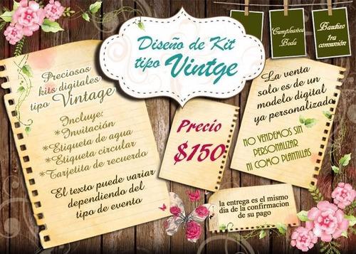 invitaciones para bautizo y baby shower kit vintage