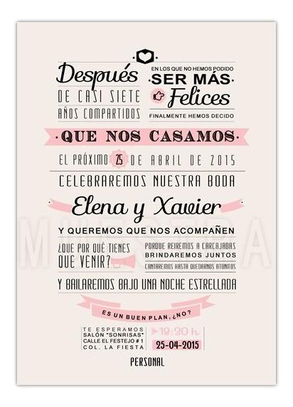 Invitaciones Para Boda Civil Personalizada Imprimela Tú