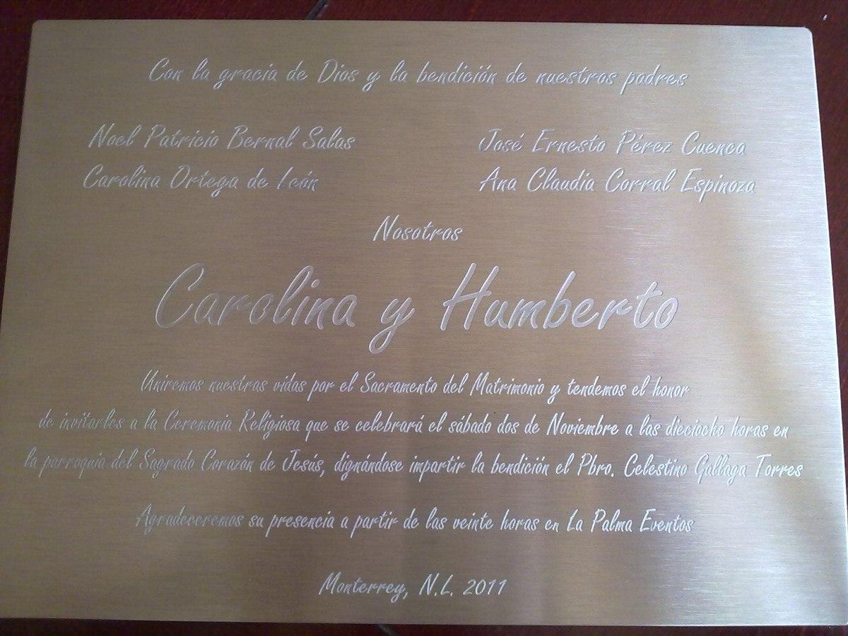 Invitaciones Para Boda Xv Años En Acero Inoxidable Grabadas