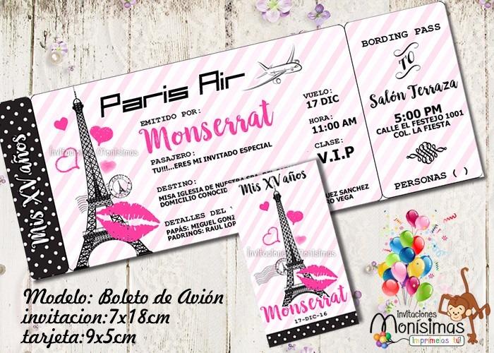 Invitaciones Paris Xv Años Baby Shower Imprimible - $ 125.00 en ...