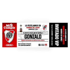 Invitaciones Personalizadas River Plate Pack X12 Unidades