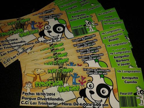 invitaciones personalizadas,tipo ticket, credicard pvc, cd