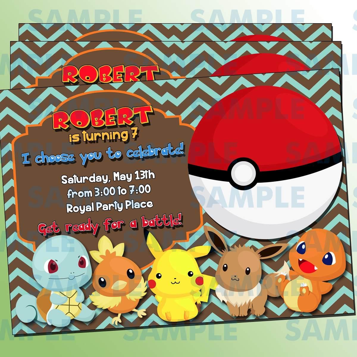 Invitaciones Pok 233 Mon Pikachu Invitaciones Infantiles