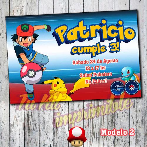 invitaciones pokemon pokebolas personalizadas impresas