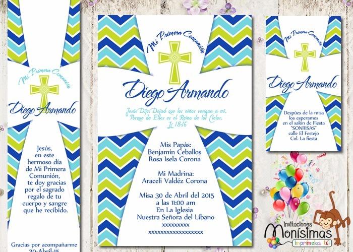 Invitaciones Primera Comunión Kit Imprimible Personalizado ...