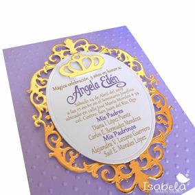 Invitaciones Princesas Corona Presentacion 3 Años Xv Años
