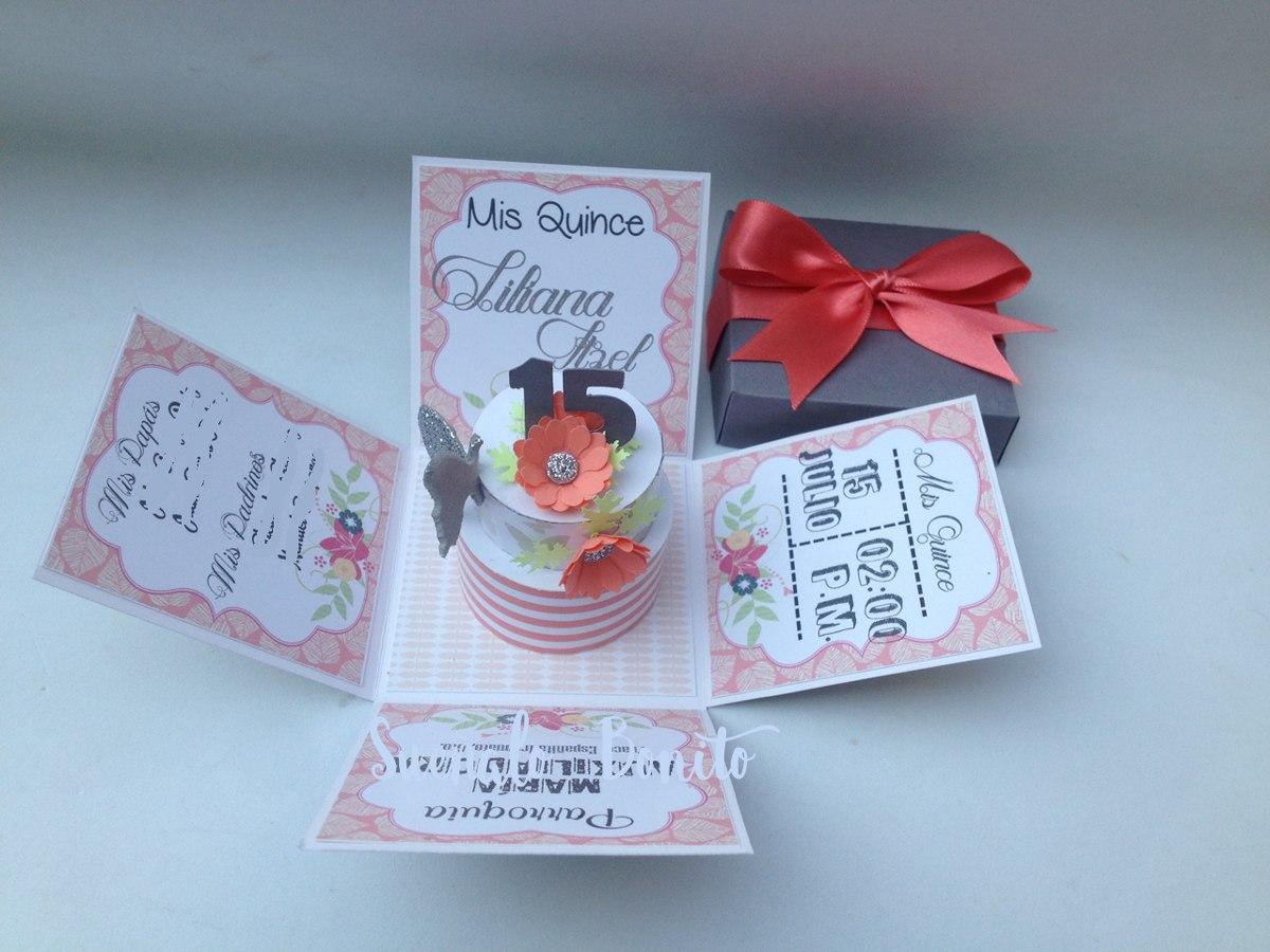 invitaciones quince a u00f1os caja explosiva pasteles