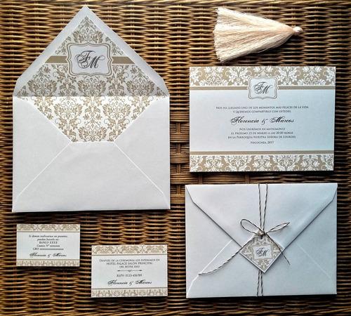 invitaciones sobres forrados estampados casamiento 15 años
