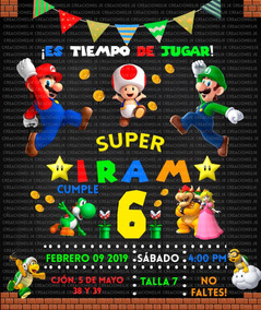 Cabezon Super Mario Invitaciones Y Tarjetas Por Por Unidad