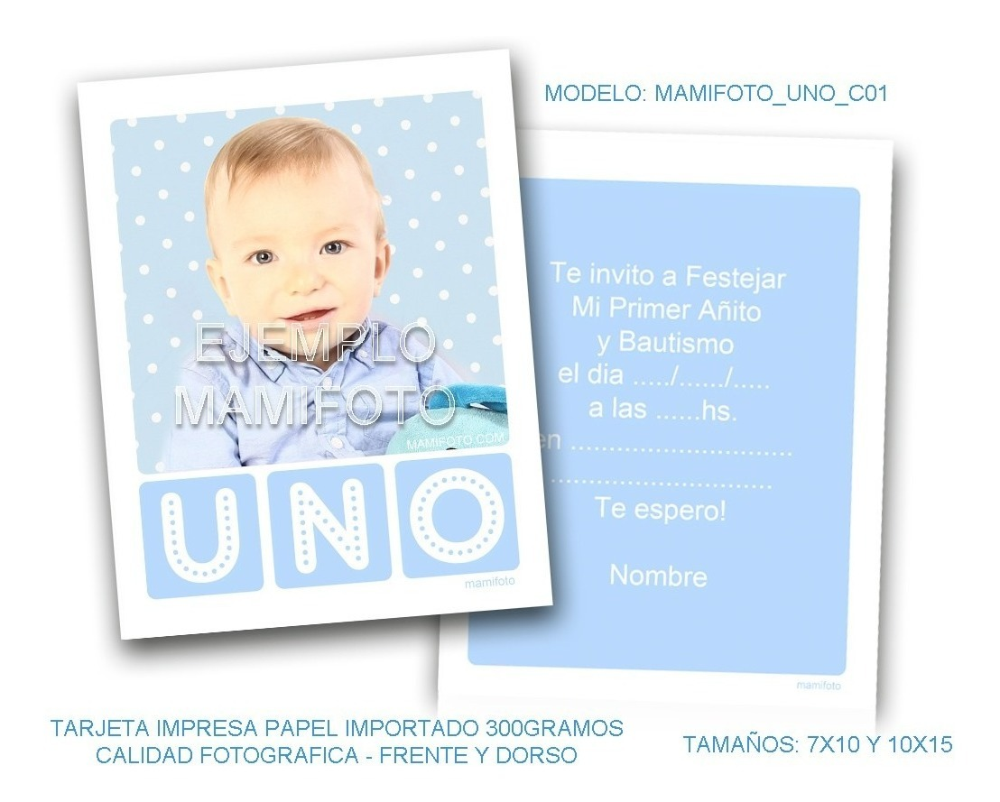 Invitaciones Tarjeta 10x15 Con Foto Primer Añito Cumpleaños