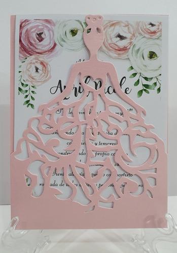 invitaciones tarjetas 15 años   calado princesa (x50)