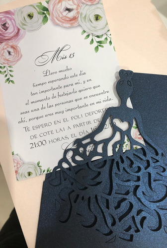 invitaciones tarjetas 15 años princesa con strass (x80)