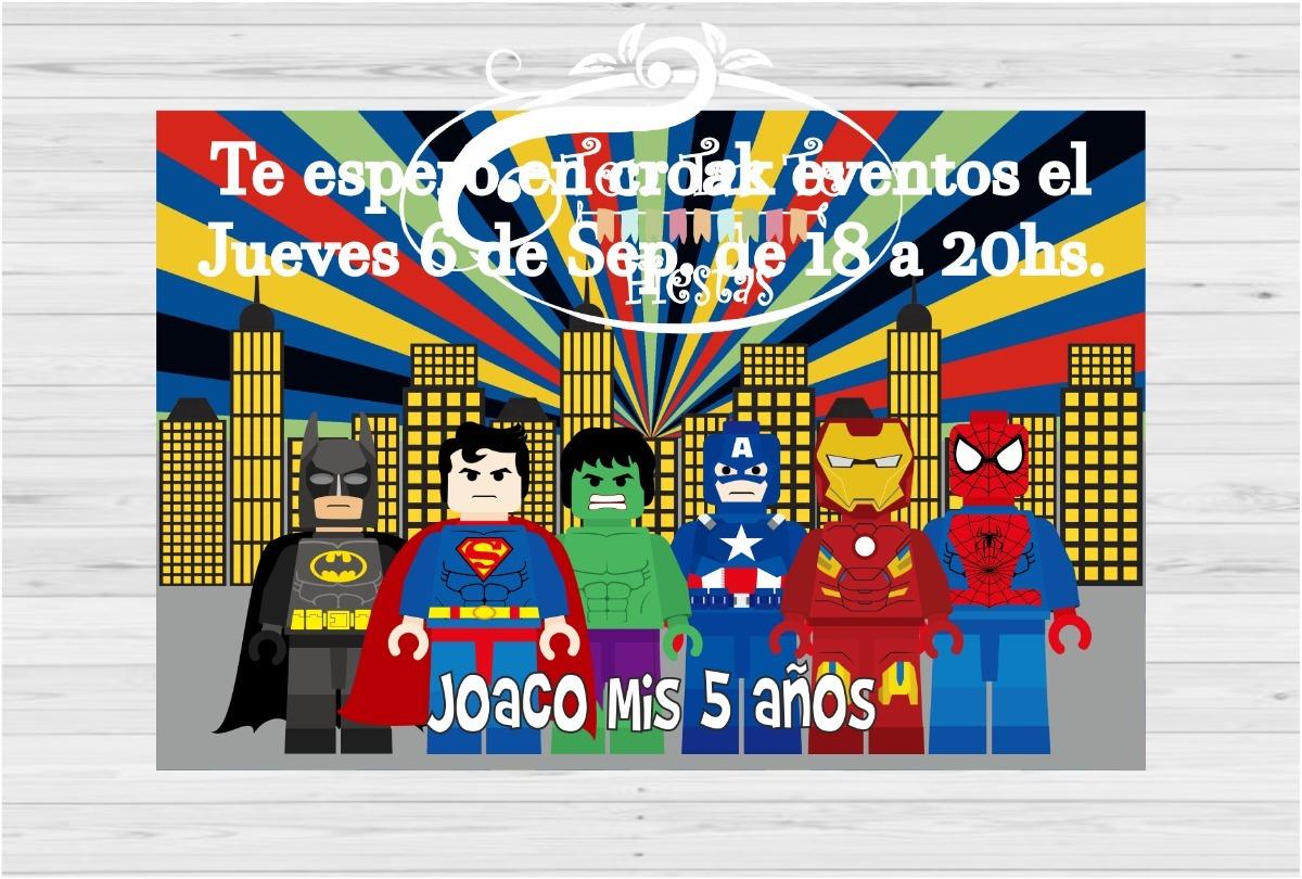 Invitaciones Tarjetas Cars Lego Batman Coco X 10 Unid