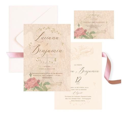 invitaciones tarjetas casamiento c/sobre diseño personalizad