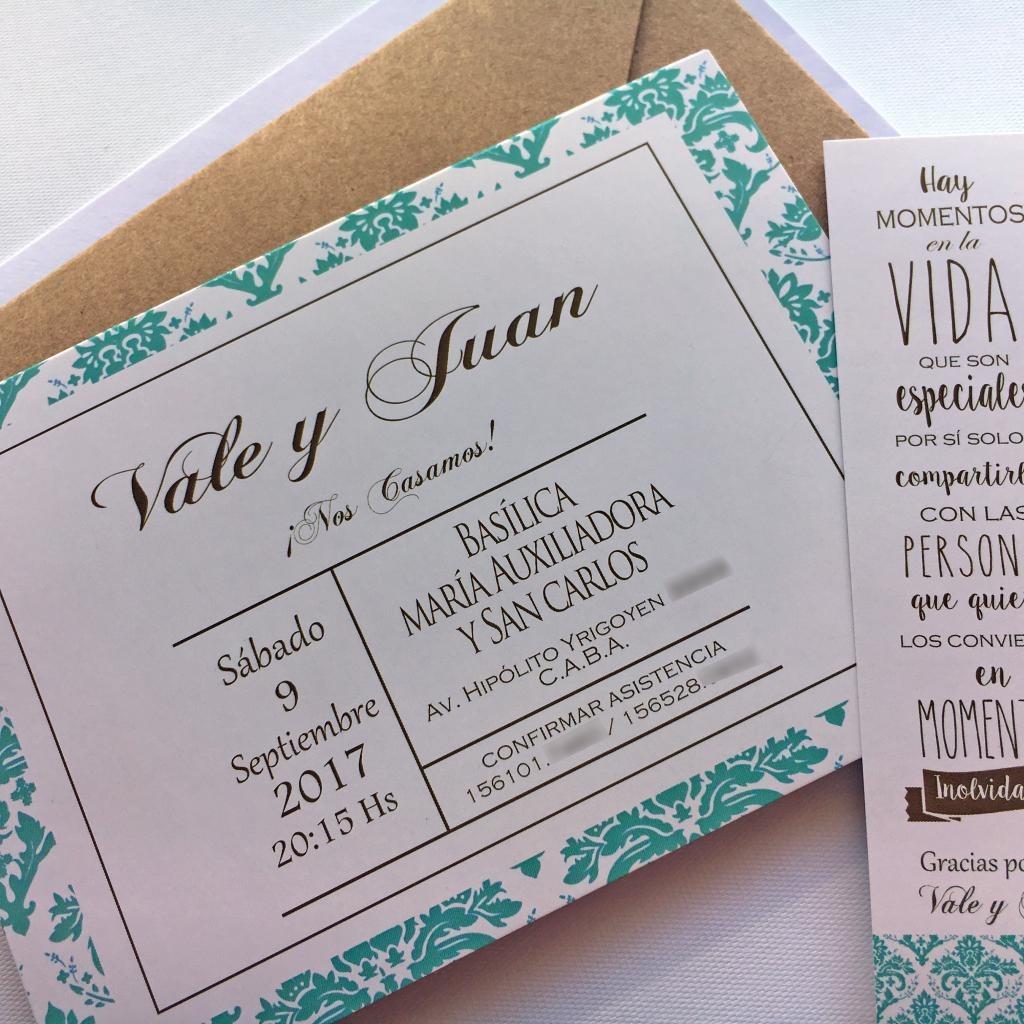 Invitaciones Tarjetas Casamiento X50