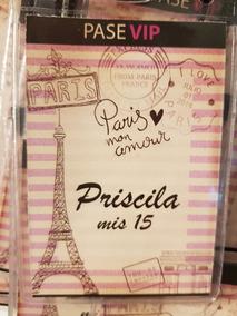 Invitaciones Tarjetas Credenciales Vip Cumpleaños 15 Paris