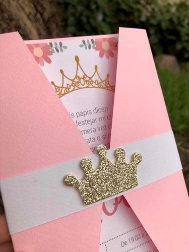 invitaciones, tarjetas de cumple 1er añito - con corona