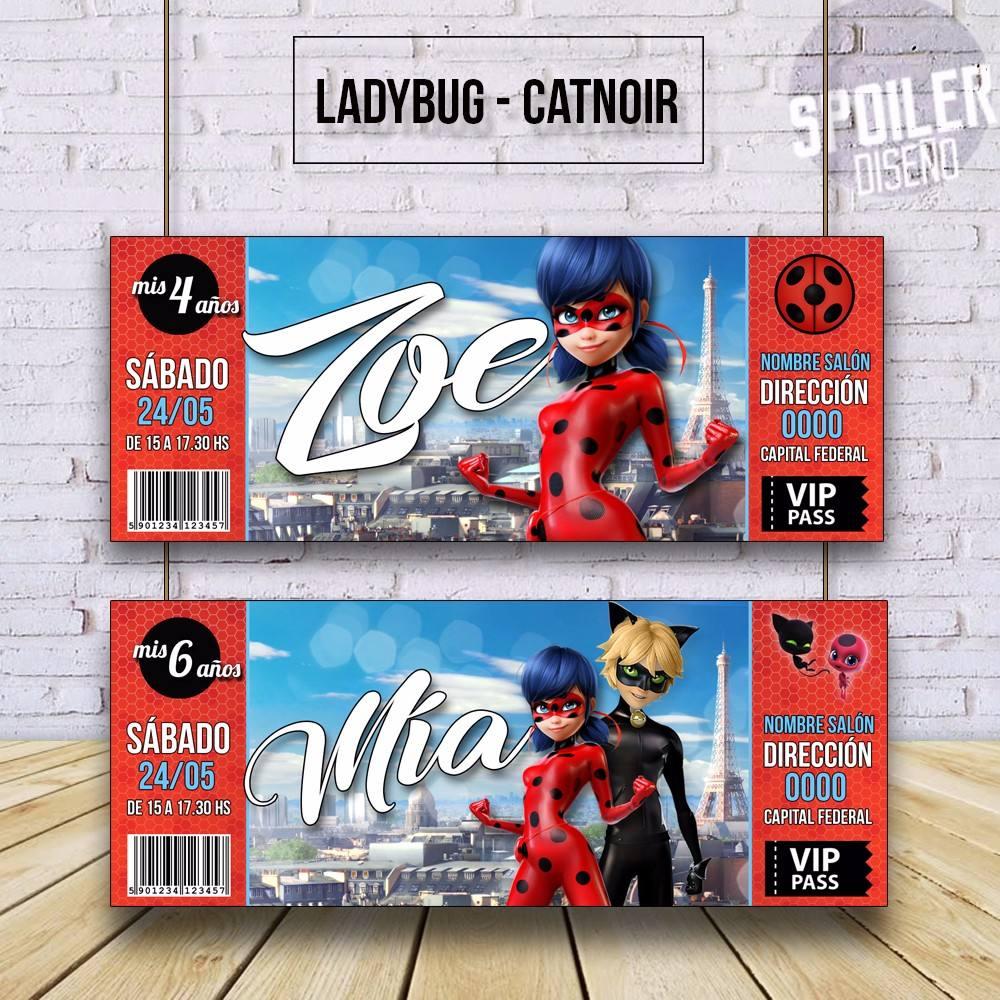 Invitaciones Tarjetas De Cumpleaños Ladybug Cat Noir