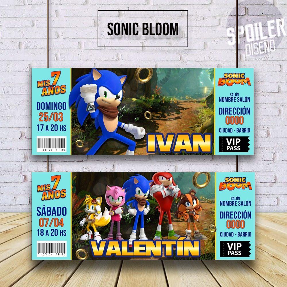 Invitaciones Tarjetas De Cumpleaños Sonic Boom