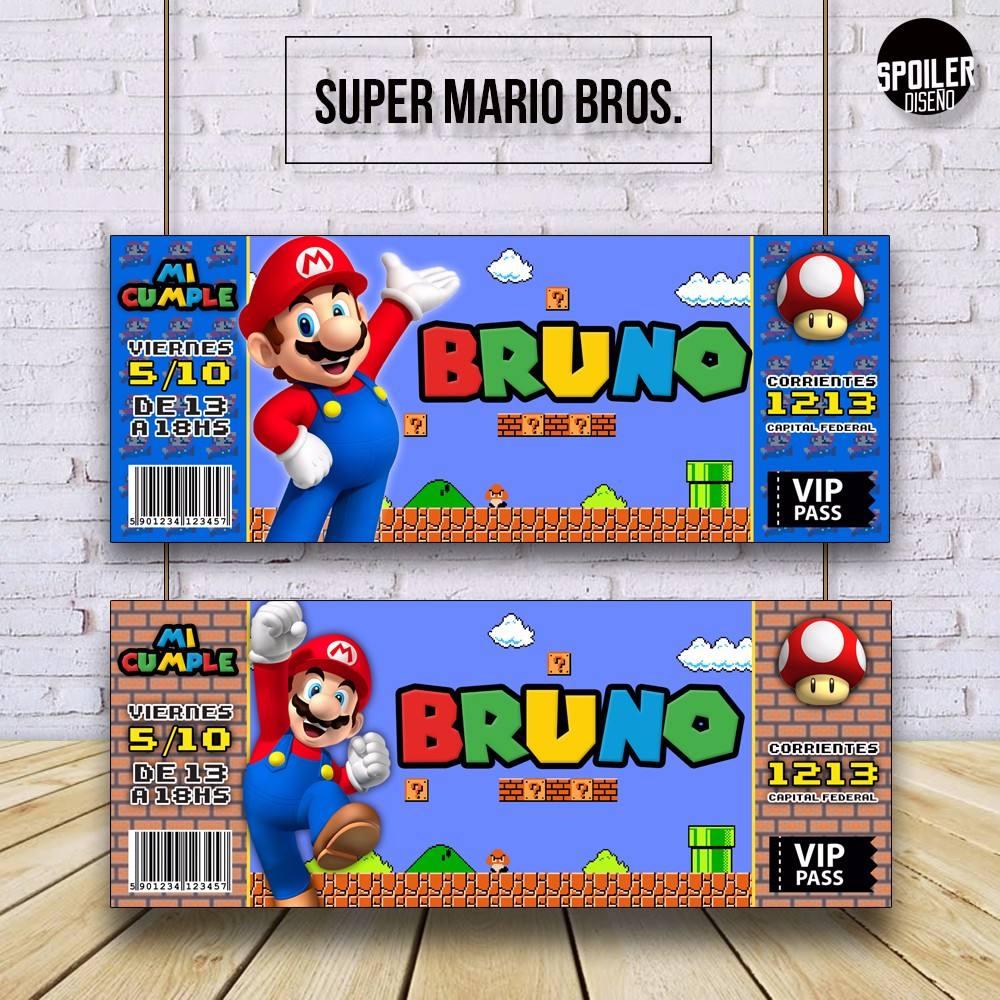 Invitaciones Tarjetas De Cumpleaños Super Mario Bros