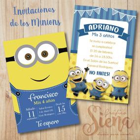 Invitaciones Tarjetas De Minions Digital Y Para Imprimir