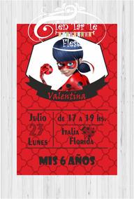 Invitaciones Tarjetas Infantiles Ladybug X 15 Unid
