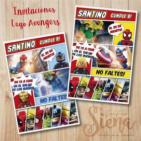 Invitaciones Tarjetas Lego Avengers Digital Y Para Imprimir