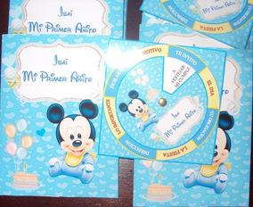Invitaciones Tarjetas Mickey Bebe Personalizadas X 50