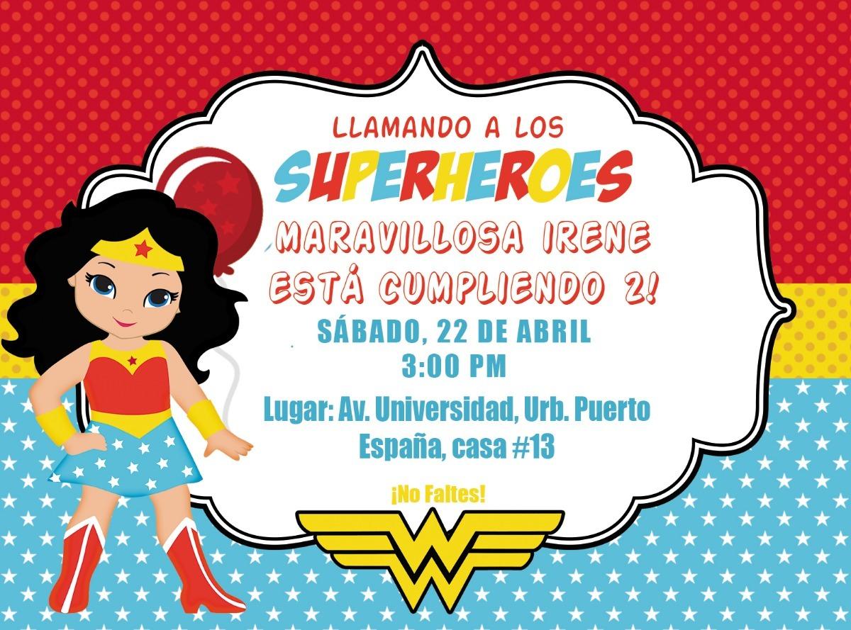 Mujer Maravilla Niña Animada: Invitaciones, Tarjetas Mujer Maravilla Imprimible