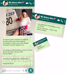 Invitaciones Tarjetas Original 15 Años Whatsapp 24 Unidades