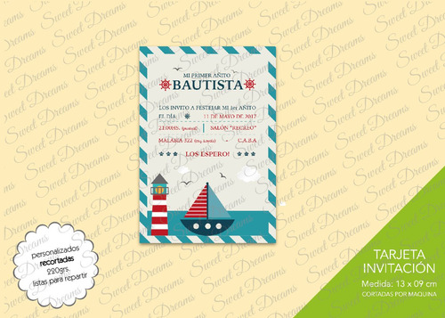 invitaciones temática nautico barquito faro cortadas