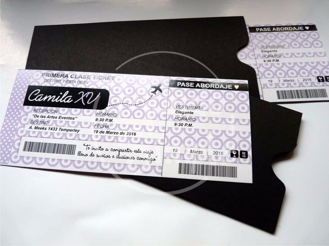 Invitaciones Ticket Pase Vip Caja Tarjetas 15 Años Souvenirs - $ 250 ...