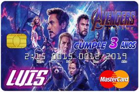 Invitaciones Tipo Tarjeta De Credito Avengers Endgame