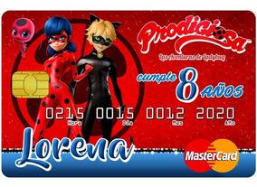 30 Invitaciones Tipo Tarjeta De Credito Ladybug Miraculous