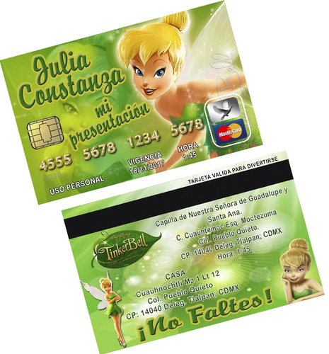 invitaciones tipo tarjeta de credito. para tu fiesta.