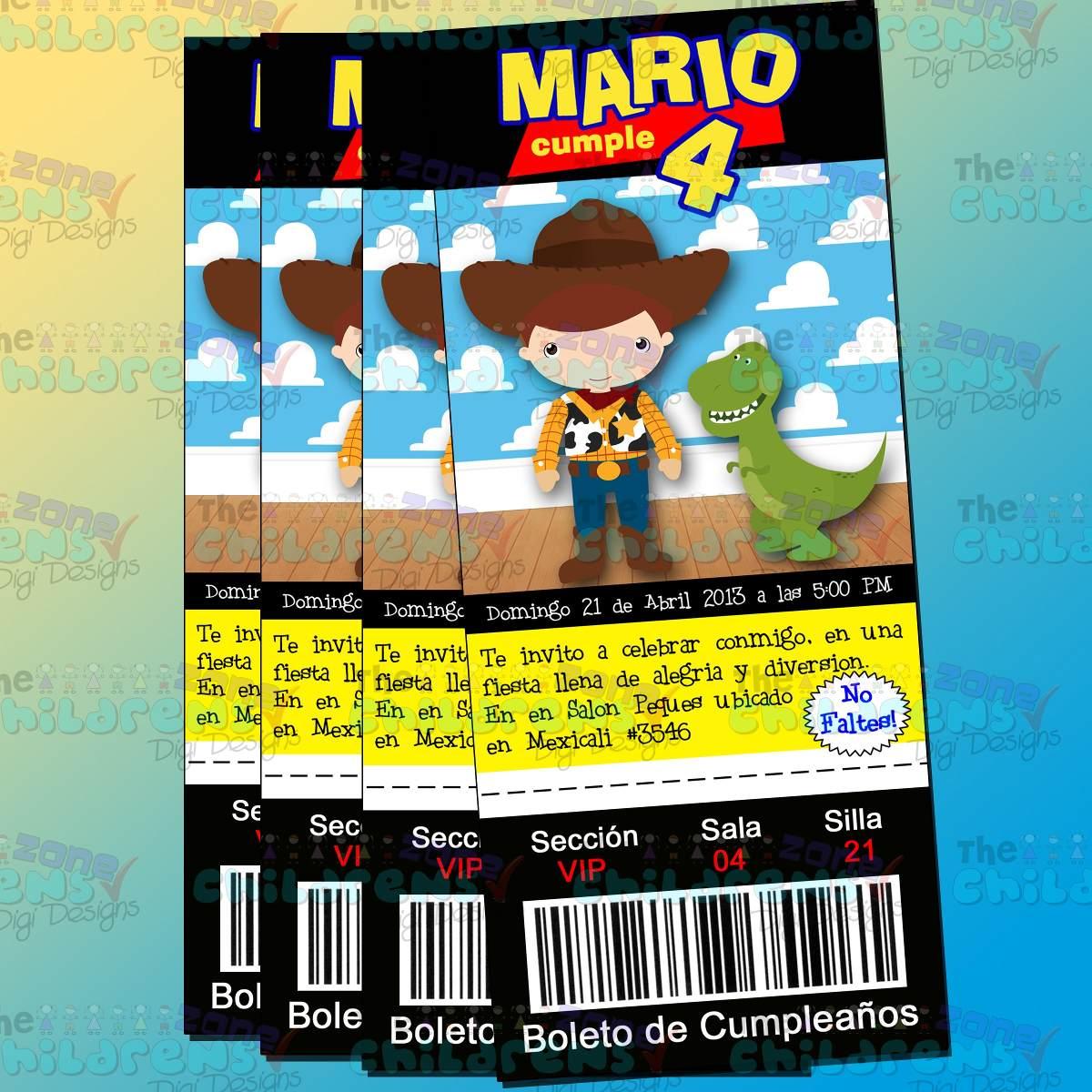Invitaciones Toy Story Woody Buzz Jessy Ticket 100 00 En Mercado