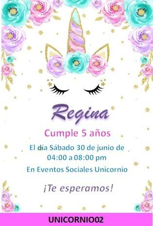 Invitaciones Unicornio Digital