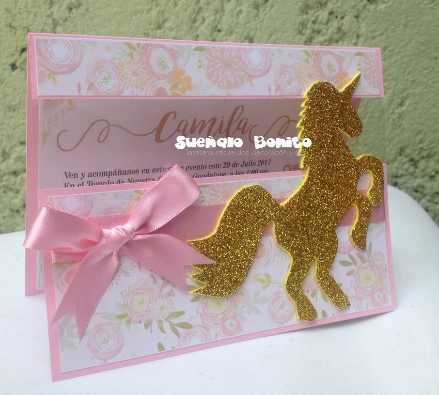Invitaciones Unicornios Con Ventana Cumpleaños Infantil