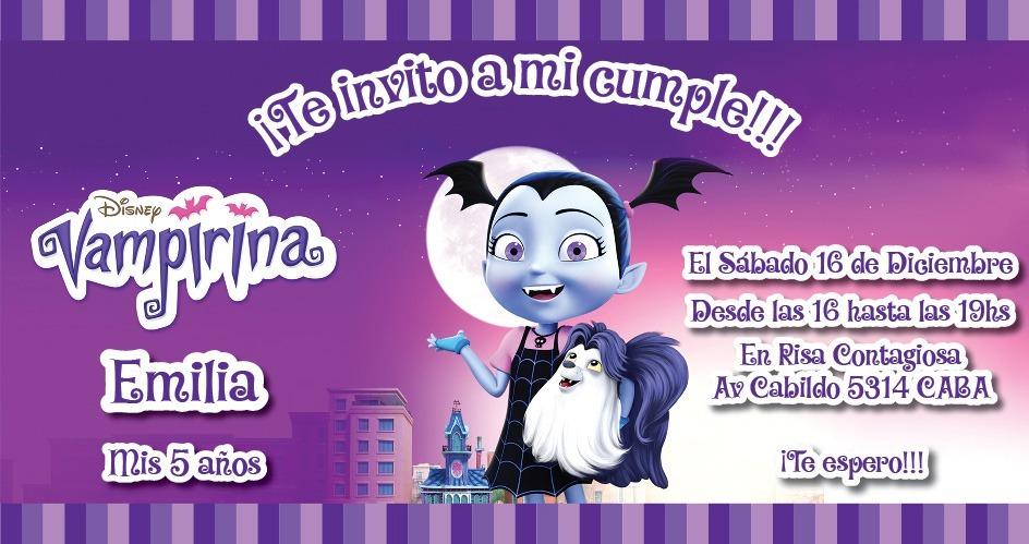 Invitaciones Vampirina Whatsapp Mail Redes Sociales Imprimir