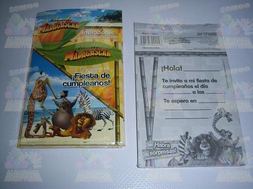 invitaciones vasos servilletas articulos fiesta madagascar