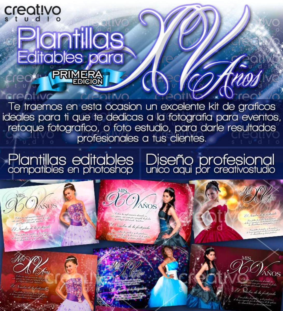 Invitaciones Xv Plantillas Editables Facebook Y Tarjeta Psd