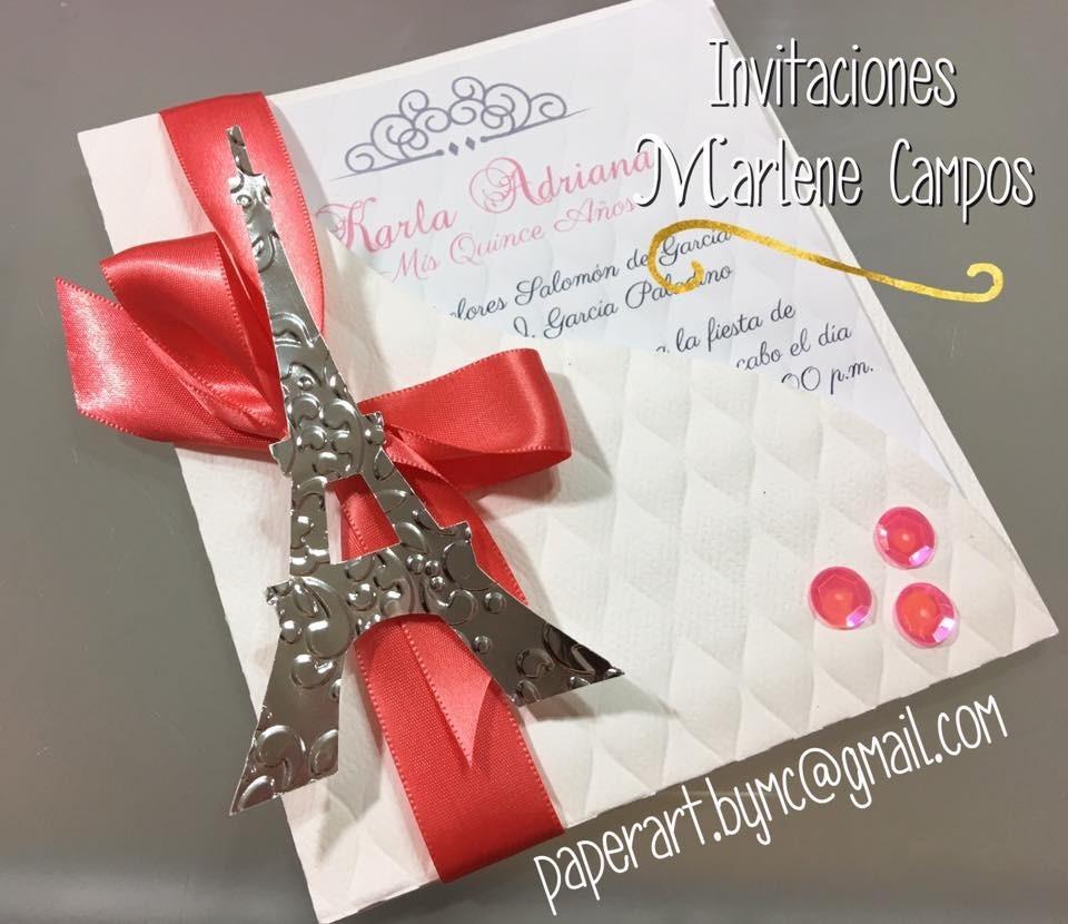 Invitaciones 15 Años Bodas Cumpleaños París Torre Eiffel