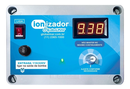 ionizador piscina 60 mil lts tratamento ions cobre água pure
