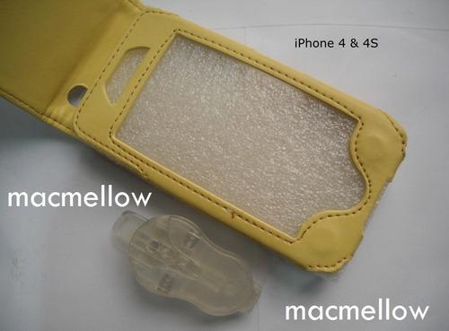 iphone 4 4s funda cuero flip gancho clip estuche protector