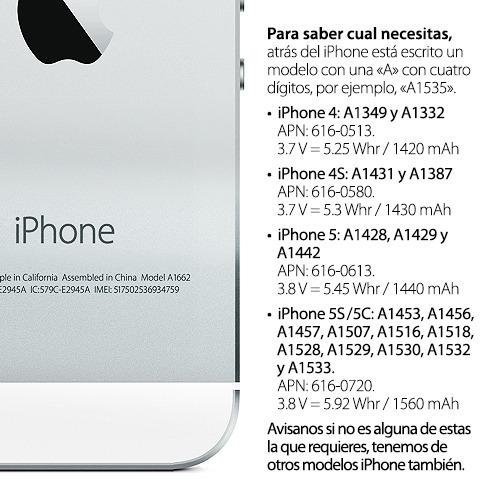 iphone 5 5s 5c 4 4s pila bateria original herramienta gratis
